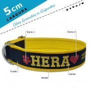 Coleira Identificação Personalizada Cachorro - Largura 5cm - G / GG - Icones - Grande Porte