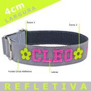Coleira Identificação Personalizada Cachorro - Largura 4cm - G / GG - Ícones - Grande Porte - Refletiva