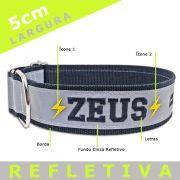 Coleira Identificadora Refletiva para cachorro Porte Gigante - 5cm  - G / GG - Ícones - Customize