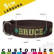 Coleira Identificador Personalizado Cachorro Porte Gigante - 5cm - G / GG - Icones - Customize!