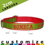 Coleira Identificadora Personalizada Cachorro - 2cm - PP / P / M - Customize!