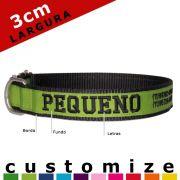 Coleira Identificadora Personalizada Cachorro - 3cm - M / G / GG - Customize!