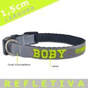 Coleira Identificação Personalizada Cachorro - Largura 1,5cm - XXP / PP / P - Refletiva