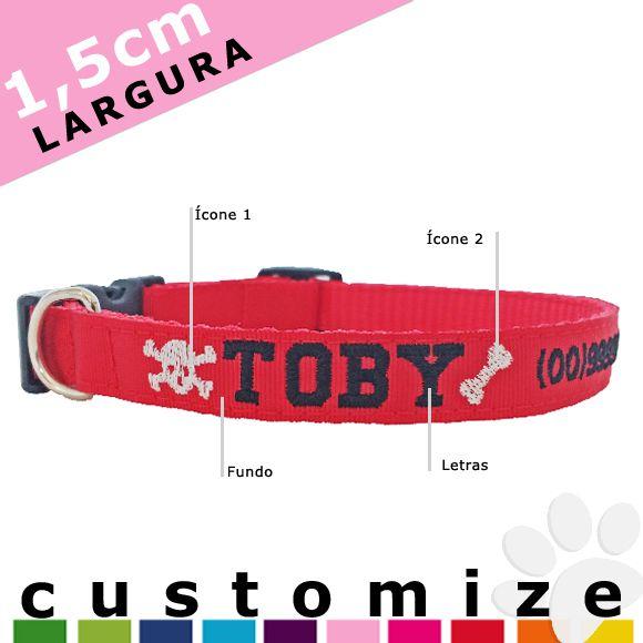Coleira Personalizada Cães - 1,5cm - PP / P - Icones - Customize!  - PetPatuá | Coleiras de Identificação