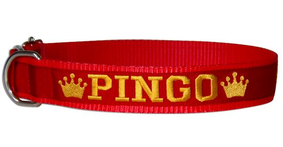 Coleira Identificação Cão - Coroas Amarelas - Vermelho/Vermelho/Amarelo  - PetPatuá | Coleiras e Tags para Identificação