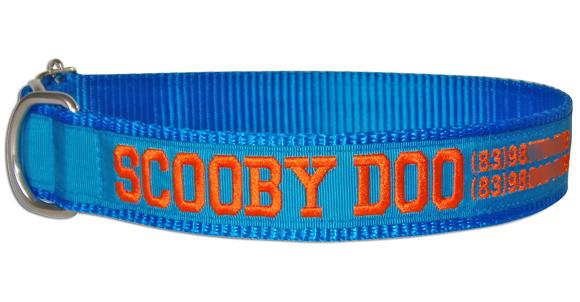 Coleira Identificação Cães Nome e Telefone - Azul/Azul/Laranja  - PetPatuá | Coleiras de Identificação