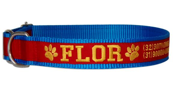 Coleira Identificação Cães - Patinhas Amarelas - Azul/Vermelho/Amarelo  - PetPatuá | Coleiras de Identificação