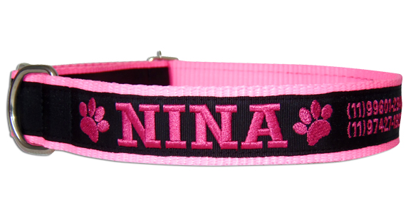 Coleira Identificação Cães - Patinhas Pink - RosaNeon/Preto/Pink  - PetPatuá | Coleiras de Identificação