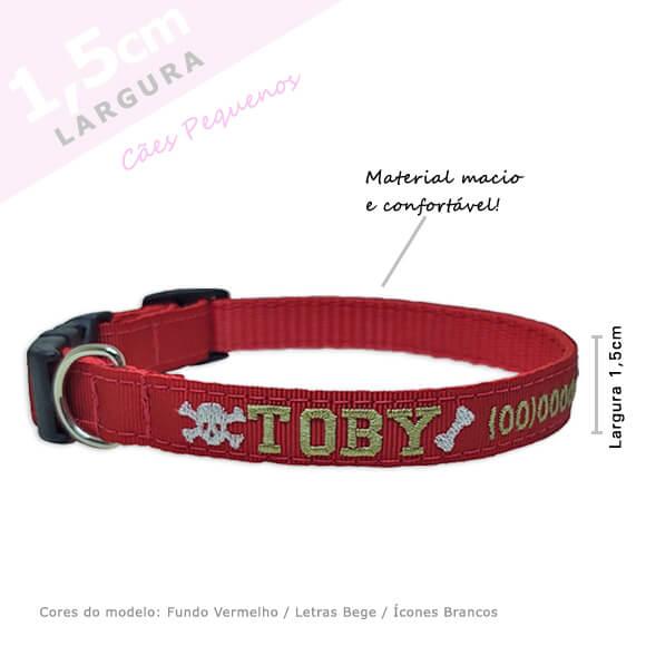 Coleira Identificação Personalizada Cachorro - Largura 1,5cm - PP / P - Icones  - PetPatuá | Coleiras e Tags para Identificação