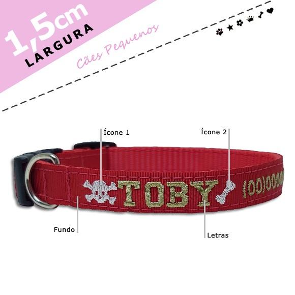Coleira Identificação Personalizada Cachorro - Largura 1,5cm - PP / P - Icones  - Preta [01 COLEIRA]  - PetPatuá | Coleiras e Tags para Identificação