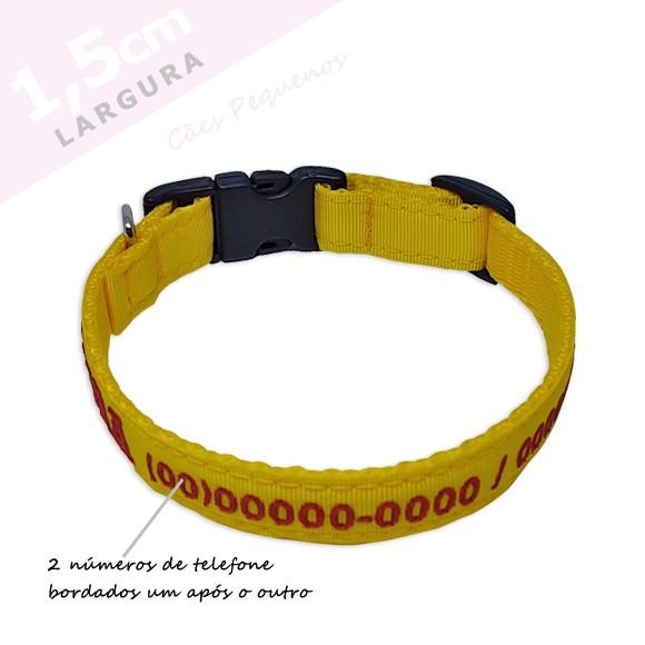 Coleira Identificação Personalizada Cachorro - Largura 1,5cm - XXP / PP / P - Preta [01 COLEIRA]  - PetPatuá | Coleiras e Tags para Identificação