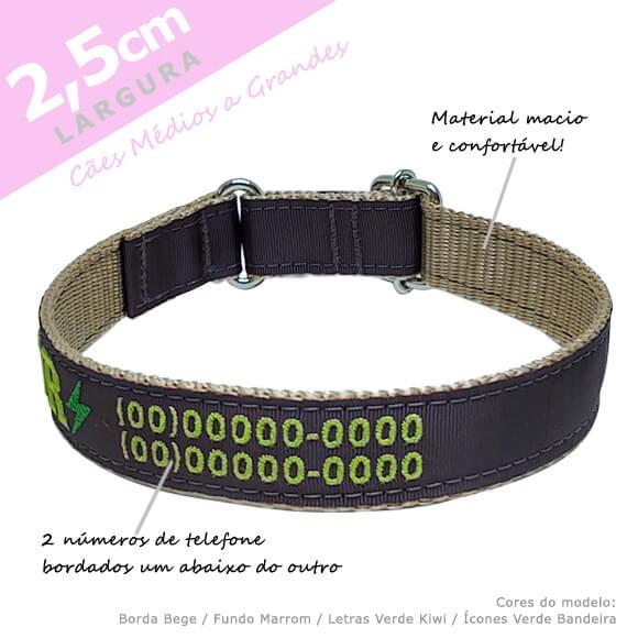 Coleira Identificação Personalizada Cachorro - Largura 2,5cm - M1, M2, G1, G2  - PetPatuá | Coleiras e Tags para Identificação