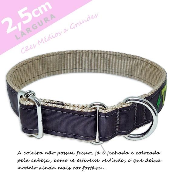 Coleira Identificação Personalizada Cachorro - Largura 2,5cm - M - Icones  - Preta [01 COLEIRA]  - PetPatuá | Coleiras e Tags para Identificação