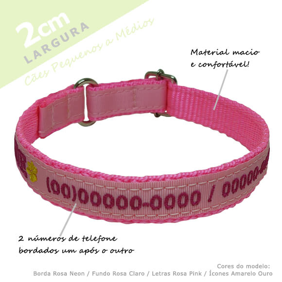 Coleira Identificação Personalizada Cachorro - Largura 2cm - PP /  P / M - Icones  - PetPatuá   Coleiras e Tags para Identificação