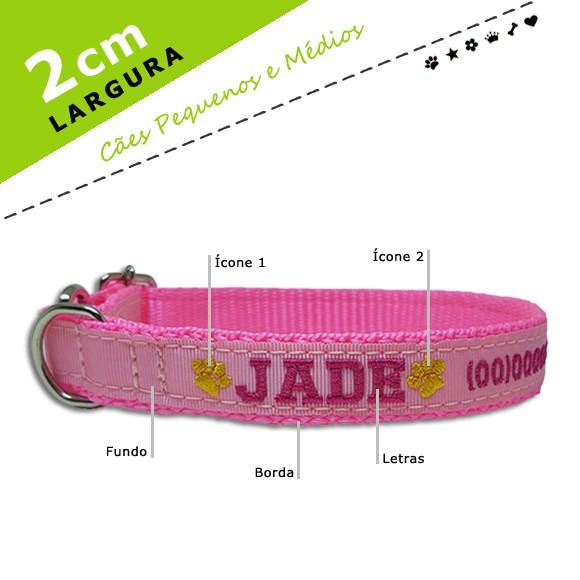 Coleira Identificação Personalizada Cachorro - Largura 2cm - PP /  P / M - Icones - Preta [01 COLEIRA]  - PetPatuá   Coleiras e Tags para Identificação