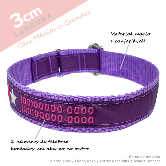 Coleira Identificação Personalizada Cachorro - Largura 3cm - M1, M2, G1, G2  - PetPatuá   Coleiras e Tags para Identificação