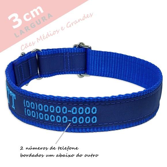 Coleira Identificação Personalizada Cachorro - Largura 3cm - M / G / GG - Preta [01 COLEIRA]  - PetPatuá | Coleiras e Tags para Identificação