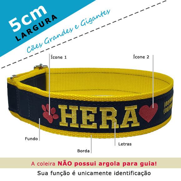 Coleira Identificação Personalizada Cachorro - Largura 5cm - G / GG - Icones - Grande Porte  - PetPatuá   Coleiras e Tags para Identificação