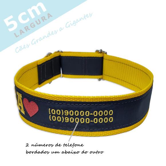 Coleira Identificação Personalizada Cachorro - Largura 5cm - G / GG - Icones - Grande Porte  - PetPatuá | Coleiras e Tags para Identificação