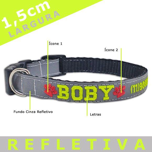 Coleira Identificação Personalizada Cachorro - Largura 1,5cm - PP / P - Ícones - Refletiva  - PetPatuá | Coleiras e Tags para Identificação