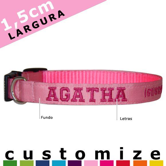 Coleira Personalizada Caes - 1,5cm - XXP / PP / P - Customize!  - PetPatuá | Coleiras e TAGs para Identificação