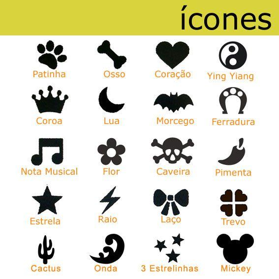 Coleira Personalizada Cães - 1,5cm - PP / P - Icones - Customize!  - PetPatuá | Coleiras e TAGs para Identificação