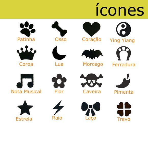 Coleira Personalizada Caes - 2,5cm - M - Icones - Customize!  - PetPatuá   Coleiras de Identificação