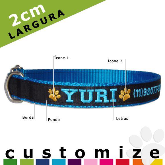 Coleira Personalizada Caes - 2cm -  PP /  P / M - Icones - Customize!  - PetPatuá | Coleiras de Identificação