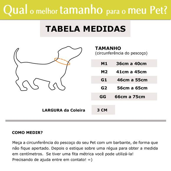 Coleira Identificadora Personalizada Cachorro - 3cm - M / G / GG - Customize!  - PetPatuá | Coleiras e Tags para Identificação