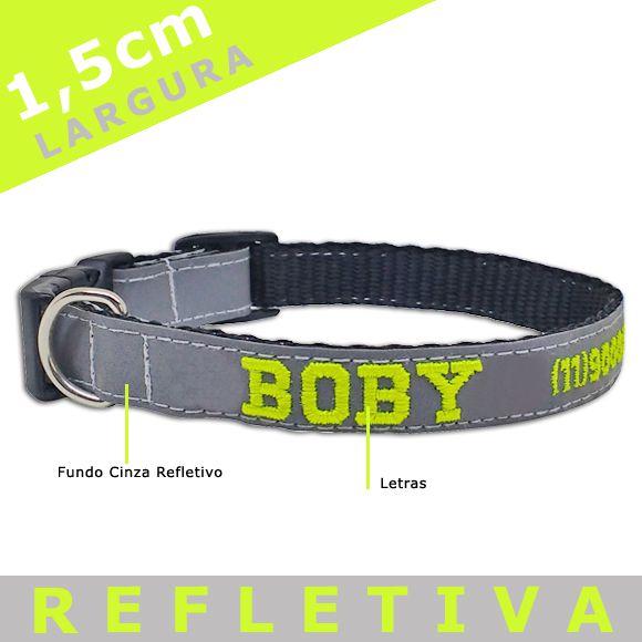 Coleira Identificação Personalizada Cachorro - Largura 1,5cm - XXP / PP / P - Refletiva  - PetPatuá   Coleiras e Tags para Identificação