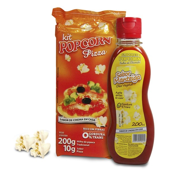 Mix Milho de Pipoca + Tempero Pizza + Óleo sabor Manteiga p/ Pipoqueira