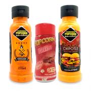 COMBO 2 Molhos 1 Tempero Popcorn - Molhos Churrasco com Pimenta e Chipotle - Tempero Bacon