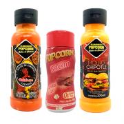 COMBO 2 Molhos 1 Tempero Popcorn - Molhos Pimenta Calabresa e Chipotle - Tempero Bacon