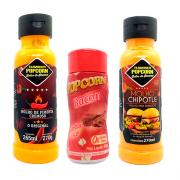 COMBO 2 Molhos 1 Tempero Popcorn - Molhos Pimenta Cremoso e Chipotle - Tempero Bacon