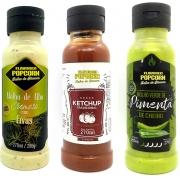 Combo 3 Sabores de Molhos: Alho com Ervas, Ketchup e Molho Verde de Pimenta de Cheiro