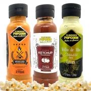 Combo 3 Sabores de Molhos: Churrasco com Pimenta, Alho com Ervas e Ketchup