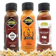 Combo 3 Sabores de Molhos: Churrasco com Pimenta, Barbecue e Ketchup