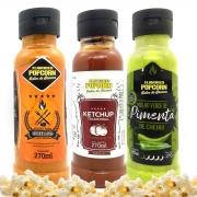 Combo 3 Sabores de Molhos: Churrasco com Pimenta, Ketchup e Molho Verde de Pimenta de Cheiro