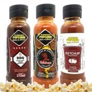 Combo 3 Sabores de Molhos: Pimenta Calabresa, Barbecue e Ketchup