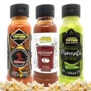 Combo 3 Sabores de Molhos: Pimenta Calabresa, Ketchup e Molho Verde de Pimenta de Cheiro