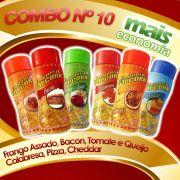 Combo Popcorn nº 10 - 06 Temperos - Pague Menos - Pizza, Cheddar, Calabresa, Bacon, Tomate e Queijo, Frango Assado