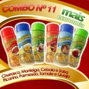 Combo nº 11 - Leve 06 Temperos e Pague Menos - Parmesão, Tomate e Queijo, Picanha, Manteiga, Churrasco, Cebola e Salsa