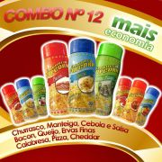 Combo Popcorn nº 12 - 09 Temperos - Mais Economia - Cebola e Salsa, Churrasco, Manteiga, Queijo, Ervas finas, Bacon, Pizza, Cheddar, Calabresa