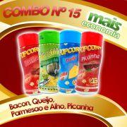 Combo de temperos  nº 15 - Leve 04 Temperos - Pague Menos - Bacon, Queijo, Parmesao e Alho, Picanha.