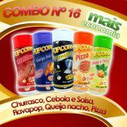 Combo de temperos  nº 16 - Leve 05 Temperos - Pague Menos - Churrasco, Cebola e Salsa, Flavapop, Queijo Nacho, Pizza