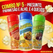 Combo Popcorn nº 5 - 04 Queijos, Presunto, Parmesão e Alho