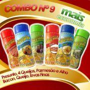 Combo Popcorn nº 9 - Leve 06 Temperos e pague menos - Queijo, Ervas finas, Bacon, Presunto, Parmesão e Alho, 04 Queijos