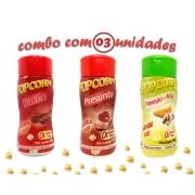 Combo Popcorn - 03 Sabores - Bacon, Parmesão e Alho e Presunto