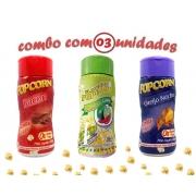 Combo Popcorn - 03 Sabores - Bacon, Pimenta e Limão e Queijo Nacho