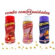 Combo Popcorn - 03 Sabores - Bacon, Queijo Nacho e Sal do Himalaia